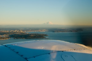 Seattle at sunset from over Bainbridge Island