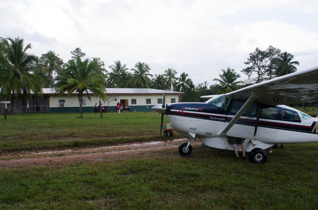 Photo of Rus Rus Hospital and the Cessna 206 that is used as the Air Ambulance