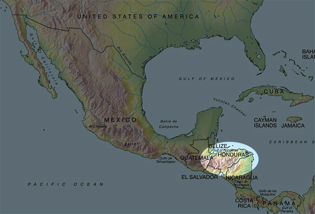 Map of Central America with Honduras highlighted