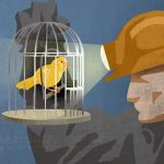 Coal miner looking at canary in cage